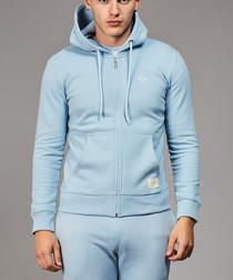 Blue cotton blend zip-up logo hoodie