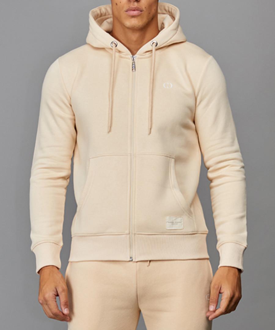 Pale yellow cotton blend zip-up hoodie Sale - criminal damage