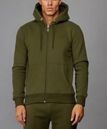 Olive cotton blend zip-up hoodie