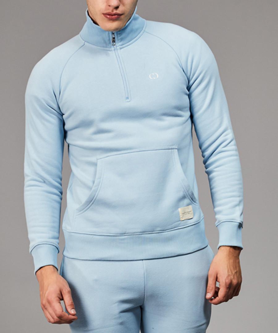 Blue cotton blend half-zip top Sale - criminal damage