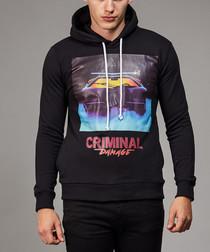 Black branded print pure cotton hoodie
