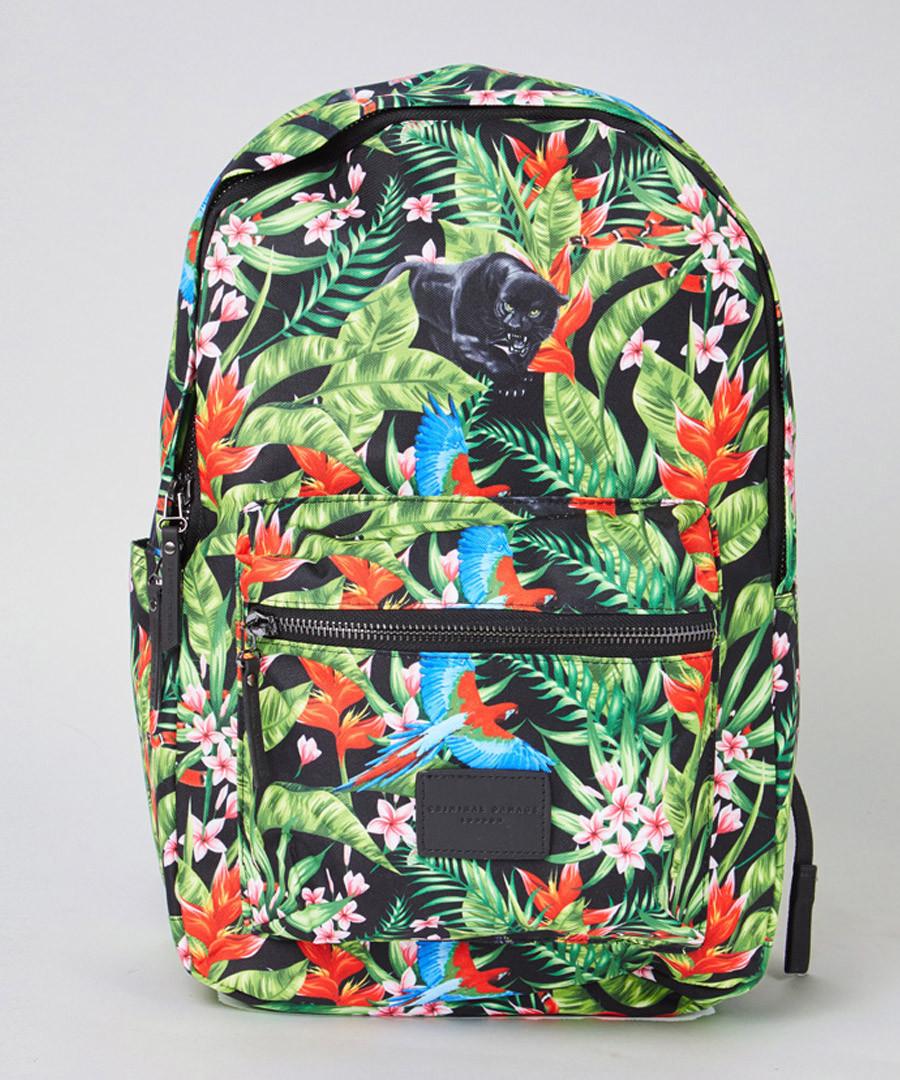 Black tropical print backpack Sale - criminal damage
