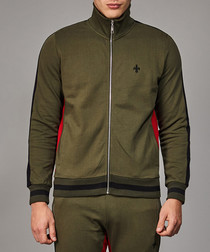 Olive & red stripe cotton track top