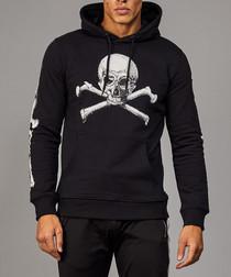 Black & white cotton skull print hoodie