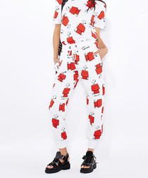 White & red snoopy print cotton joggers