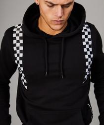 Black & racer print cotton hoodie