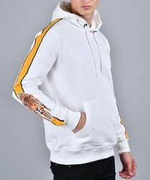White cotton tiger tape detail hoodie