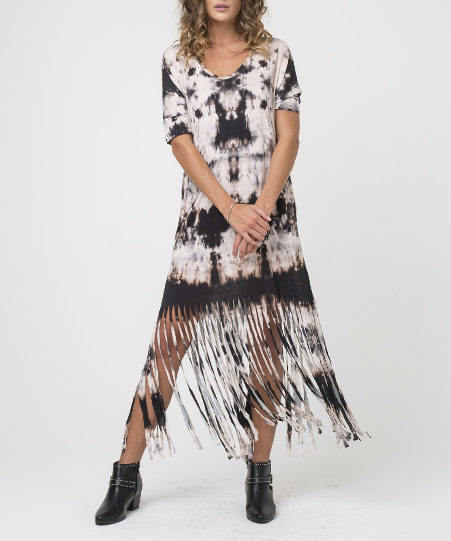 Thunder print semi-sheer midi dress Sale - religion