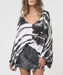 Hunt print stripe asymmetric top