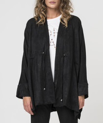 Jet black poncho jacket