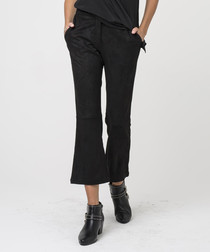 Jet black flared crop length trousers