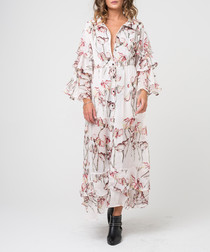 Timid light print shirt maxi dress