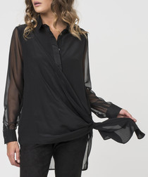 Jet black silk blend wrap around shirt