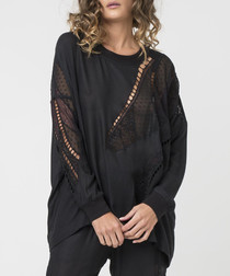 Jet black lace panel semi-sheer jumper