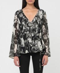 Black & white print v-neck blouse
