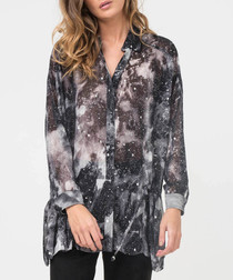 Interlude foil cosmic print blouse