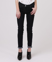 Dark blue cotton blend low-rise jeans