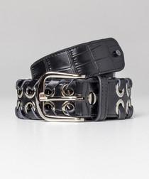 Black moc-croc eyelet detail belt