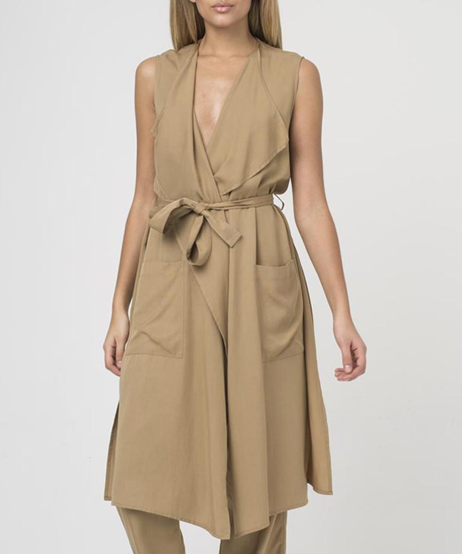 Camel cupro sleeveless tie waist jacket Sale - religion
