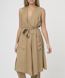 Camel cupro sleeveless tie waist jacket