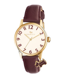 Brown leather & dog motif charm watch