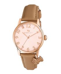 Beige leather & dog motif charm watch