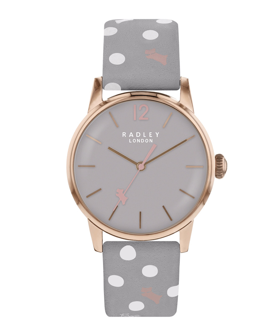 Grey spotted leather & steel watch Sale - radley