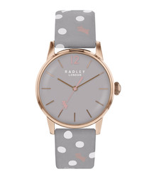 Grey spotted leather & steel watch