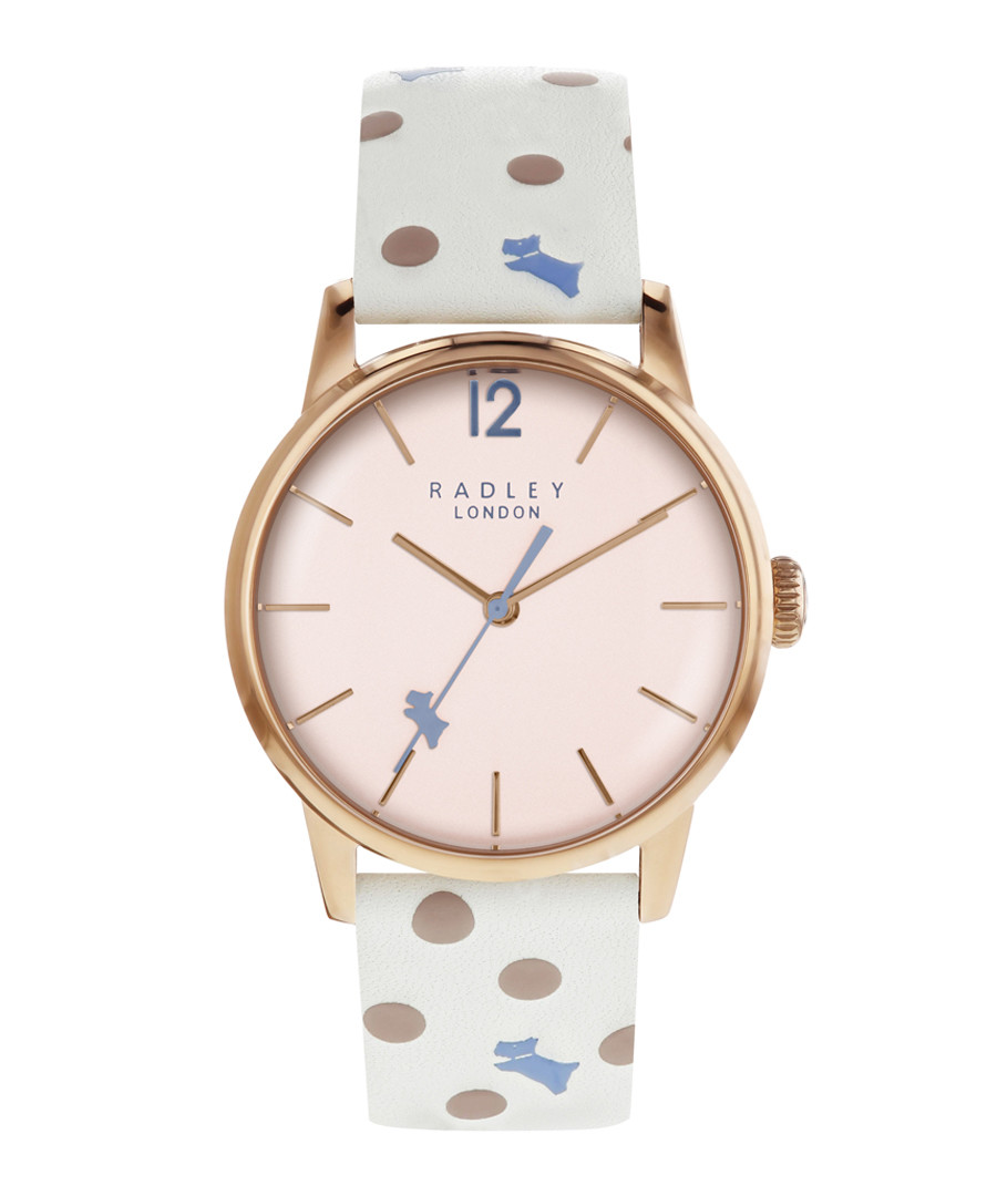 White spotted leather & steel watch Sale - radley
