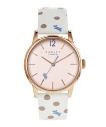White spotted leather & steel watch
