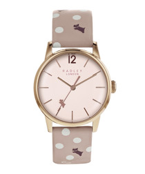 Vintage pink dog print leather watch