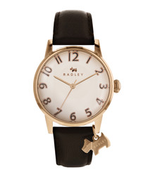 Brown leather & steel dog charm watch