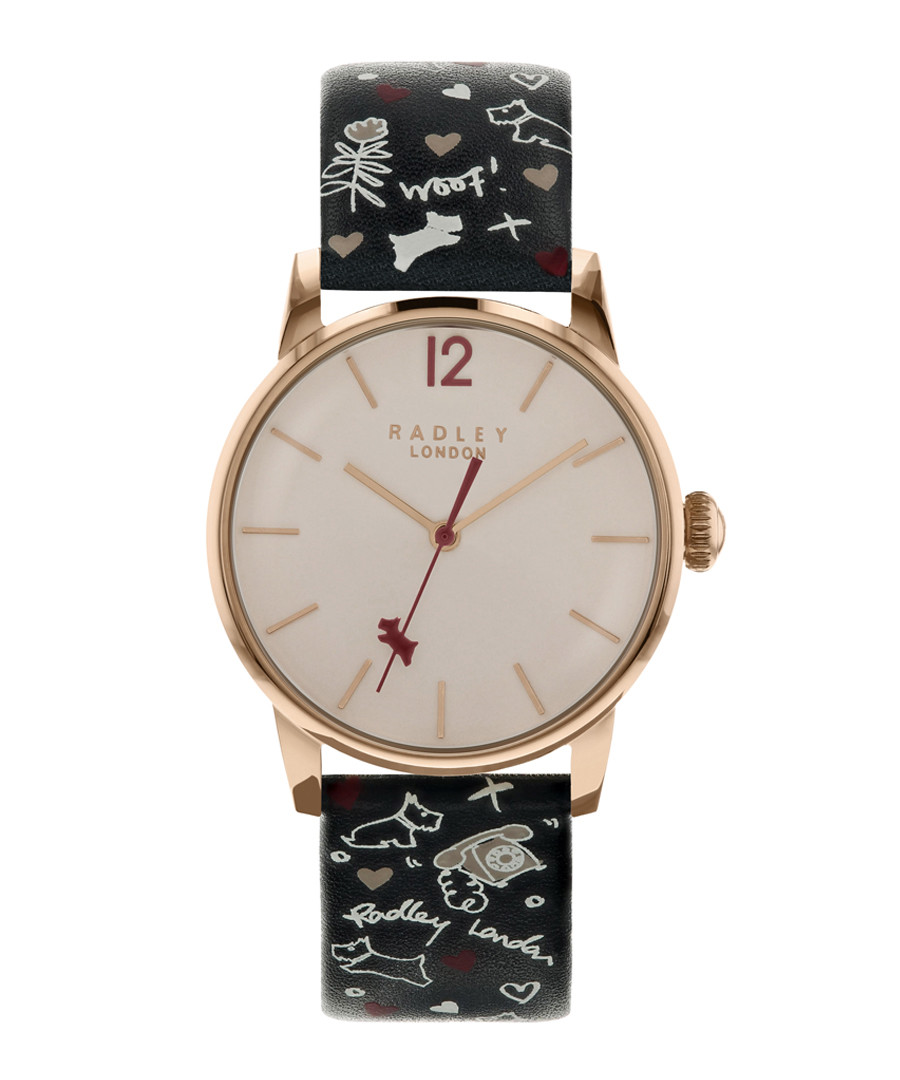 Black printed leather strap watch Sale - radley