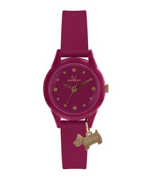 Purple silicone & stainless steel watch