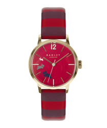 Purple stripe leather & gold-tone watch