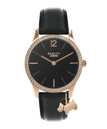 Rose gold-tone steel & leather watch