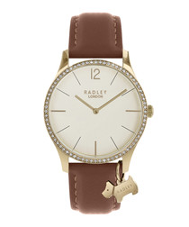 Tan leather & gold-tone steel dog watch