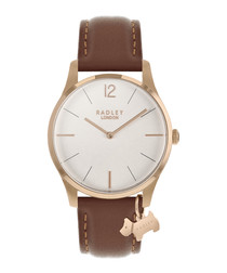 Brown leather & rose-gold tone watch