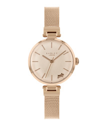 Rose gold-tone steel mesh strap watch
