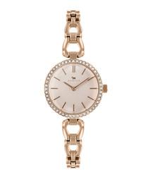 Rose gold-tone brass link strap watch