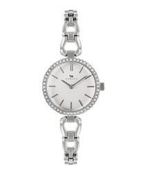 Silver-tone brass crystal watch