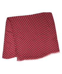 Red & white modal & cashmere polka scarf