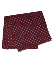 Wine wool & silk flower dot scarf