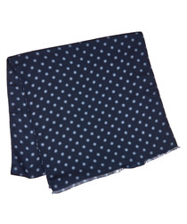 Navy wool & silk flower dot scarf