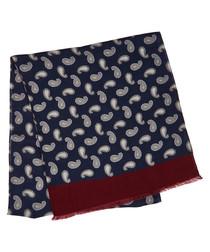 Navy paisley pure lana wool scarf