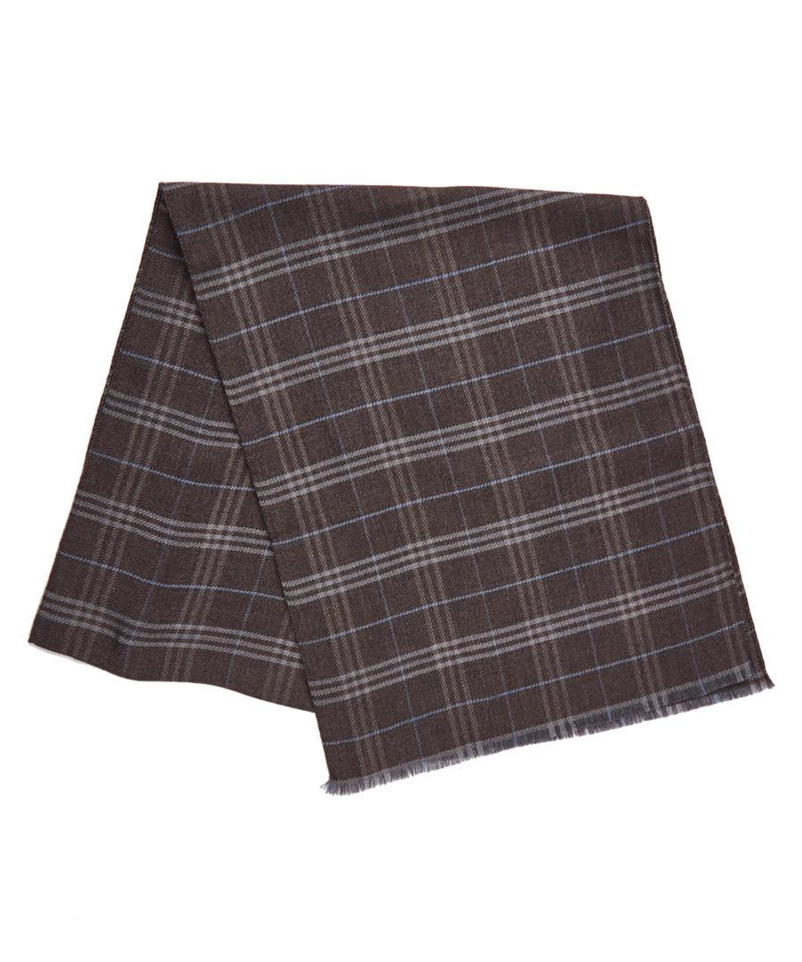 Brown plaid lana wool scarf Sale - hackett
