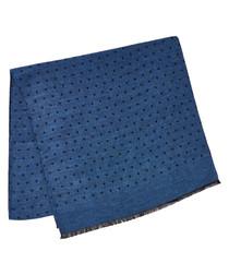 Blue wool & silk polka scarf