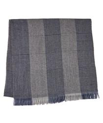 Malton navy & grey wool blend scarf
