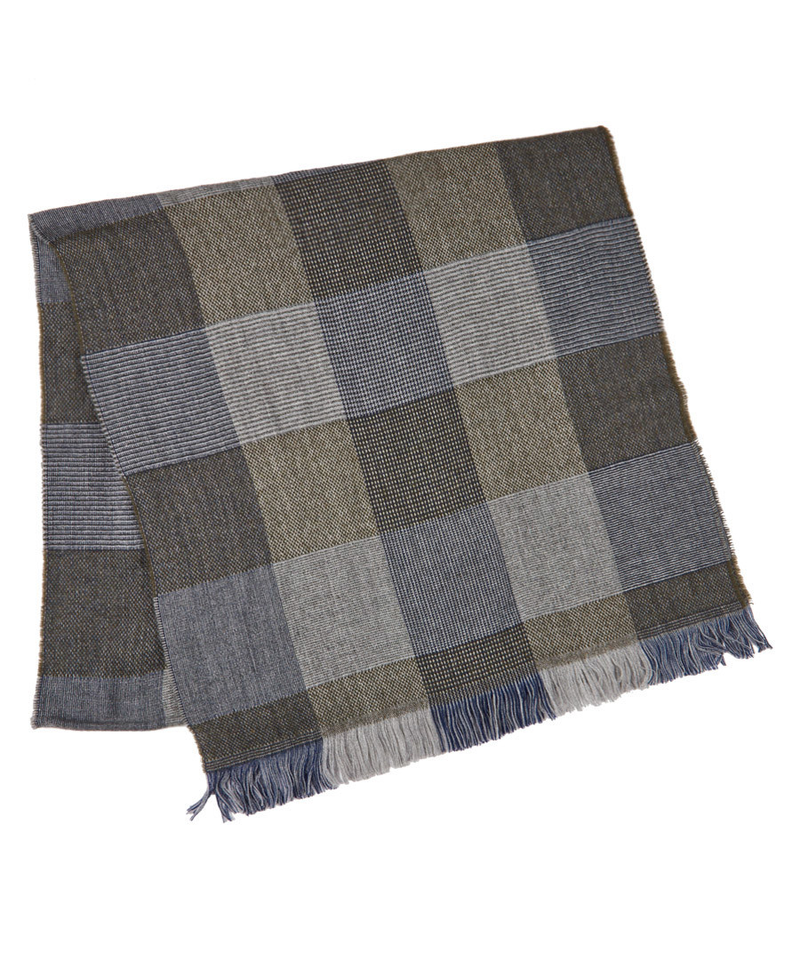 Malton navy & grey wool blend scarf Sale - hackett