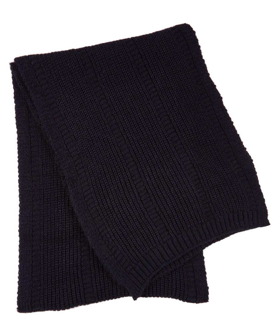 Navy alpaca blend scarf Sale - hackett